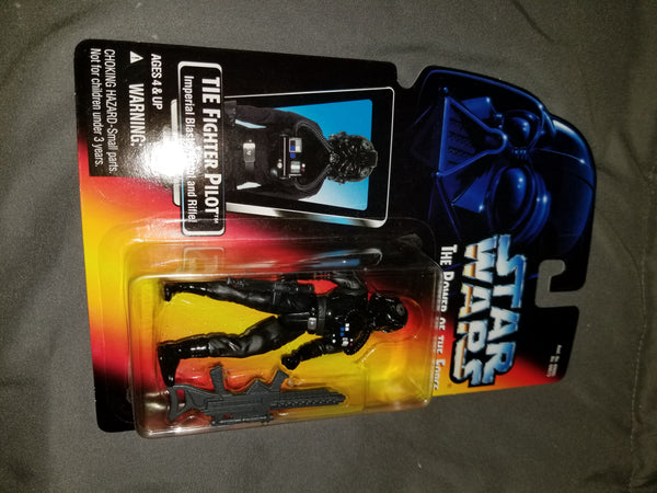 Star Wars Power Of The Force TIE Fighter Pilot w/ Imperial Blaster Pistol And Rifle Sealed On Orange Card New