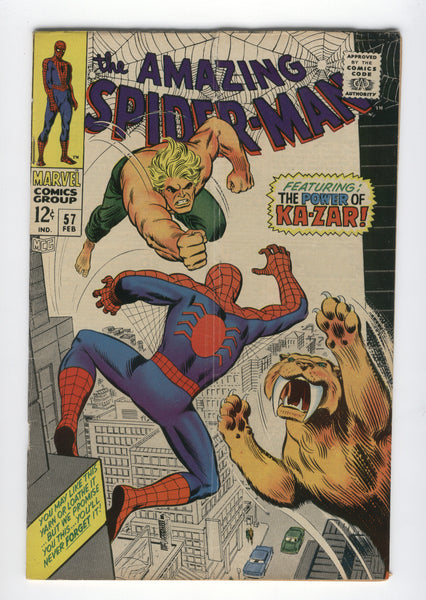 Amazing Spider-Man #57 The Power of Ka-Zar! Romita art Silver age classic VG