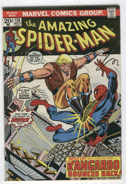 Amazing Spider-Man #126 The Kangaroo Bounces Back! (yowza!) Bronze Age Classic Andru Art VGFN