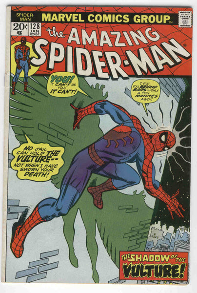 Amazing Spider-Man #128 The Shadow of the Vulture Bronze Age Key Andru Art FN