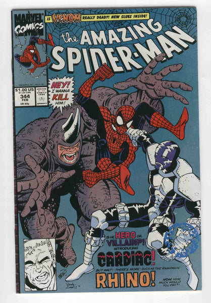 Amazing Spider-Man #344 first Cletus Kasady and Cardiac plus The Rhino FVF