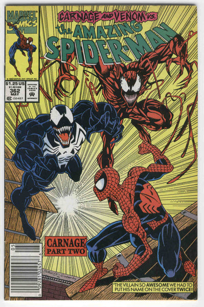 Amazing Spider-Man #362 Carnage And Venom Chapter Two News Stand Variant VG