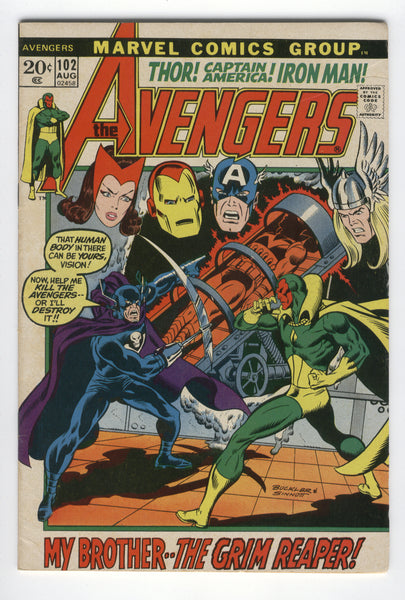 Avengers #102 My Brother.. The Grim Reaper Buckler Art Bronze Age Key FN