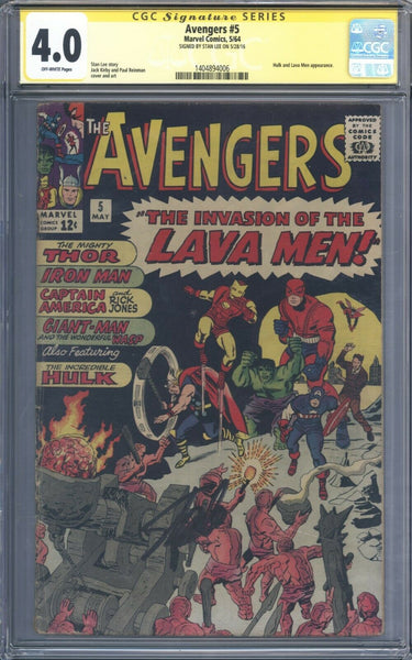 Avengers #5 CGC 4.0 Signature Series Signed By Stan Lee !