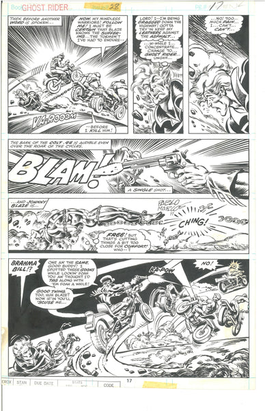 Ghost Rider #28 Pg 17 Original Art Panel Page Tom Sutton Pablo Marcos Excellent and Very HTF!
