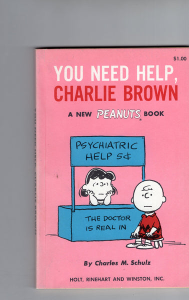 You Need Help, Charlie Brown By Charles Schultz Paperback Holt, Rinehard and Winston 1965 First Edition