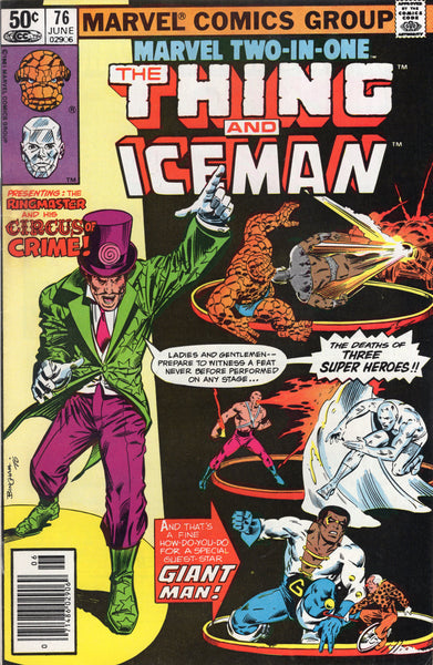 Marvel Two-In-One #76 Benjy And Iceman vs Ringmaster And His Circus Of Crime! (try getting that title on ebay) FVF