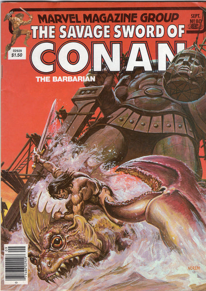 Savage Sword Of Conan #80 The Colossus Of Argos! News Stand Variant FN