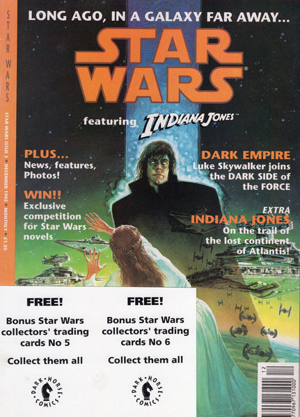 Star Wars #3 UK Series Magazine Sized Dark Empire & Indiana Jones Backup w/ Promo Cards Attached VF