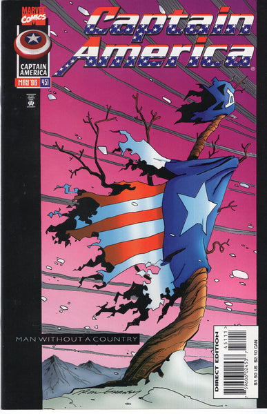 "Captain America #451 ""Man Without A Country"" HTF Later Issue VF"