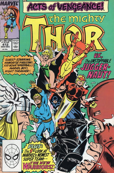 Thor #412 First Full Apparance of The New Warriors Vs Juggernaut VGFN