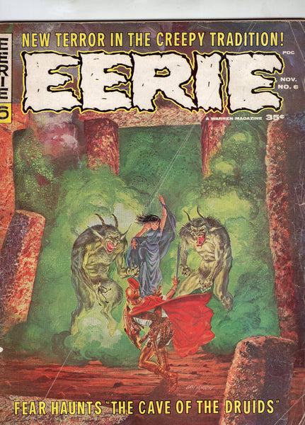 Eerie #6 The Cave Of The Druids! Lower Grade Silver Age Horror Magazine GD