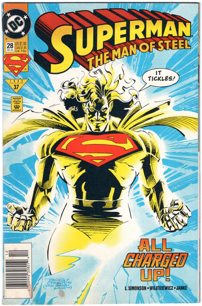 "Superman The Man Of Steel #28 ""All Charged Up!"" News Stand Variant VG+"