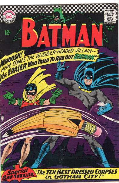Batman #188 First Appearance Of The Eraser! (yay) Silver Age VG