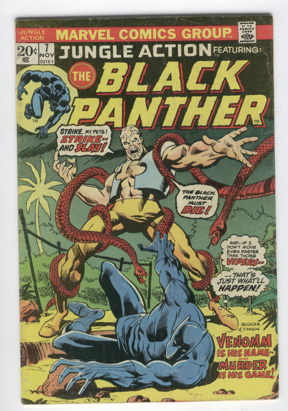 Jungle Action #7 Venomm Is His Name Buckler Art Bronze Age Key VG