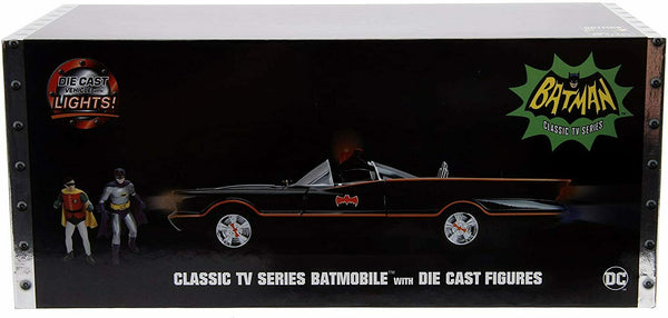 Batmobile 1966 Jada TV Classic 1/18 Scale Die-Cast w/ Batman And Robin Figures Lights New In Box