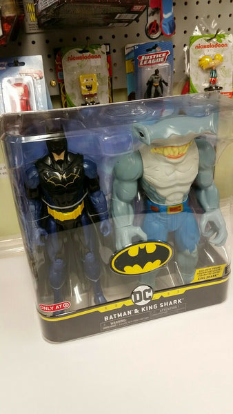 "DC Batman And King Shark 12"" Dual Action Figure Set Target Exclusive Brand New Sealed"