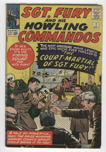 Sgt. Fury And His Howling Commandos #7 The Court Martial Jack Kirby Silver Age Key GVG