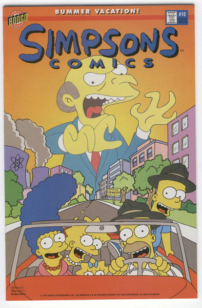 Simpsons Comics #10 Bummer Vacation HTF Early Issue NM-