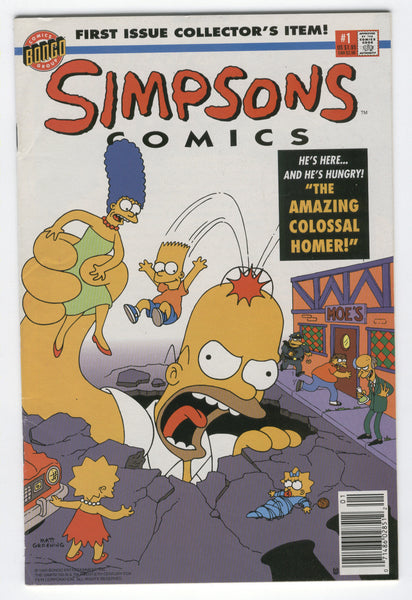 Simpsons Comics #1 Amazing Colossal Homer Bongo 1993 VF- News Stand Variant