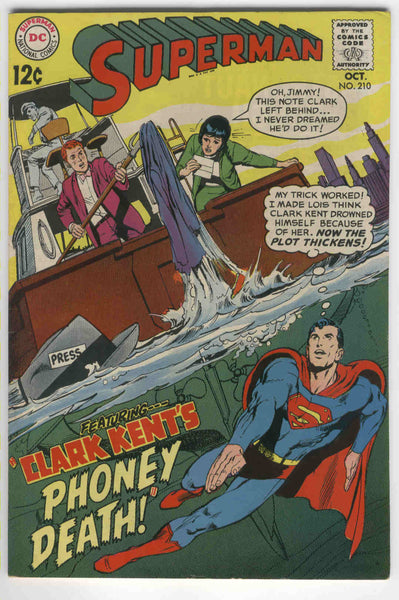 Superman #210 Clark Kent's Phoney Death Neal Adams Art Silver Age Classic FVF