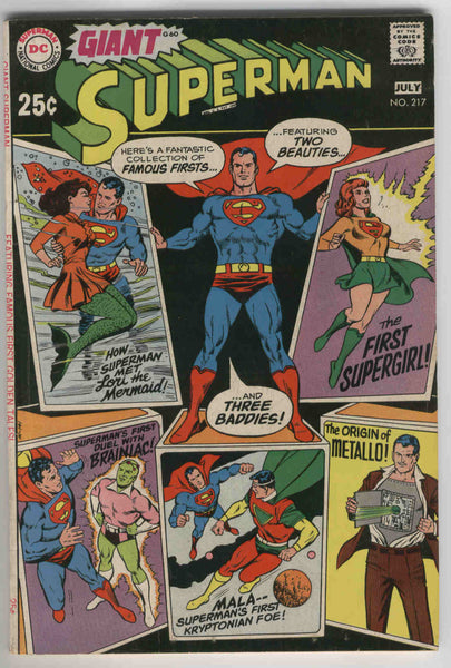 Superman #217 The First Supergirl DC Giant G-60 Silver Age Key Fine+