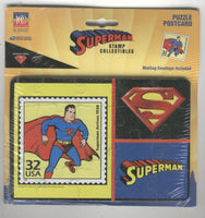 Superman Stamp Collectibles Puzzle Postcard Sealed on the Card