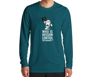 Gerd's Men's T-Shirt: Who is Mission Control for Humanity? (ls)