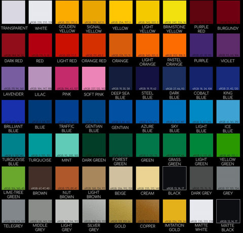 (Decal Color Chart) Color options are provided upon checkout