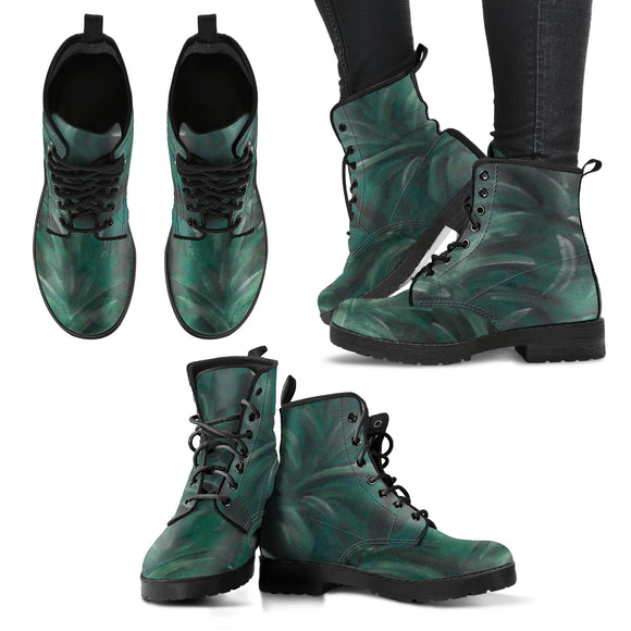 Green Burst Design - Women's Leather Boots Shoes