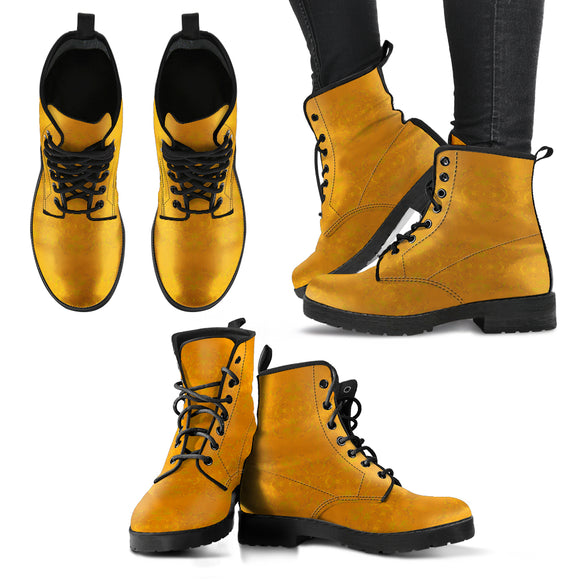 Yellow Glimmer Enhanced Design - Women's Leather Boots Shoes