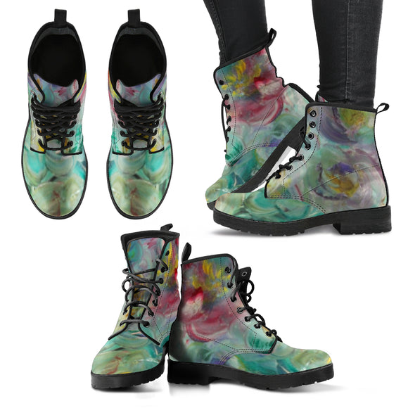 Floral Rhapsody Design - Women's Leather Boots Shoes