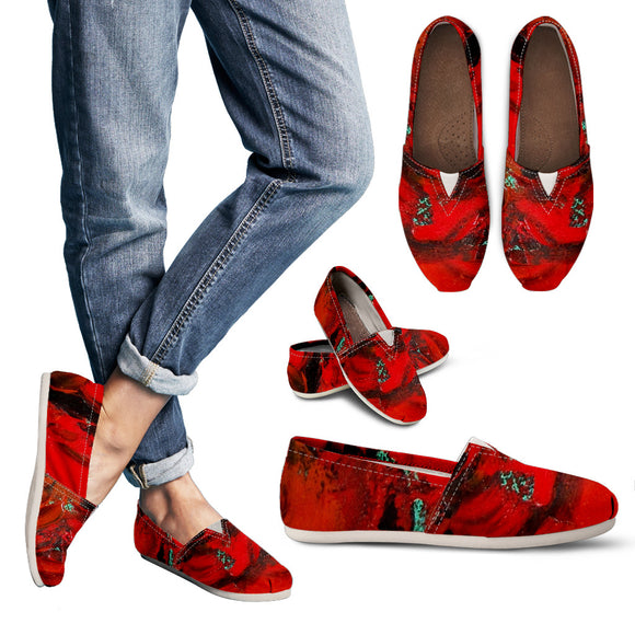 Red Renaissance Swirl Design - Women's Casual Shoes Espadrilles