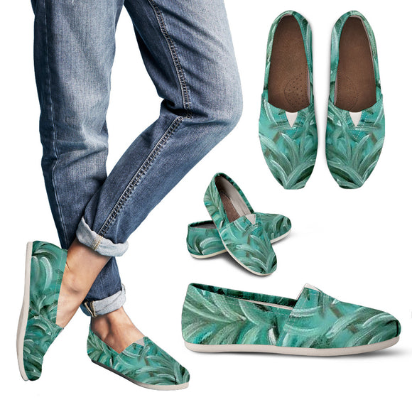 Green Burst Swirl Design - Women's Casual Shoes Espadrilles