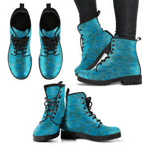 Green Paisley Enhanced Design - Women's Leather Boots Shoes