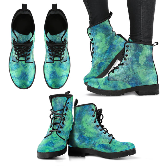 Green Paisley Design - Women's Leather Boots Shoes