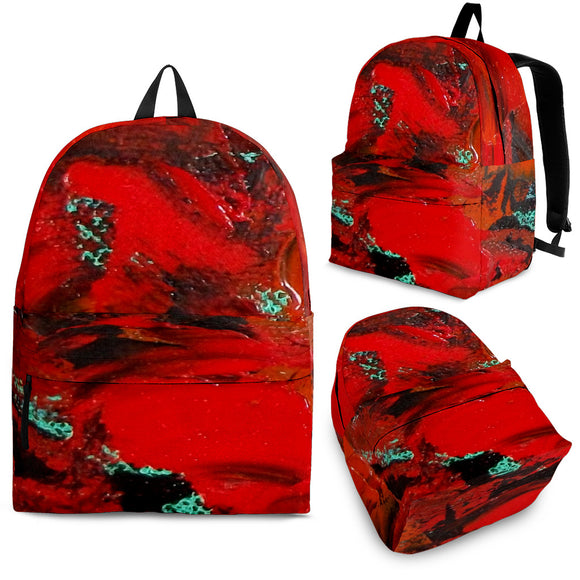 Red Renaissance Swirl Design - Backpacks