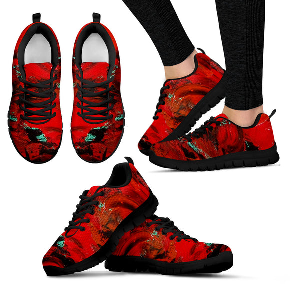 Red Renaissance Swirl Design - Women's Sneakers Shoes