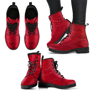 Red Passion Swirl Design - Women's Leather Boots Shoes