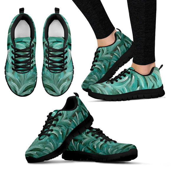 Green Burst Swirl Design - Women's Sneakers Shoes