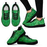 Green Gold Swirl Design - Women's Sneakers Shoes