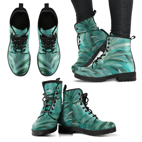 Green Burst Swirl Design - Women's Leather Boots Shoes