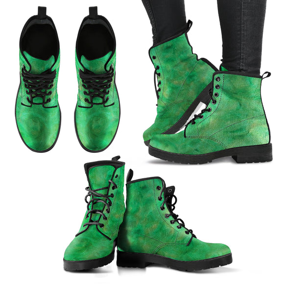 Green Gold Swirl Design - Women's Leather Boots Shoes