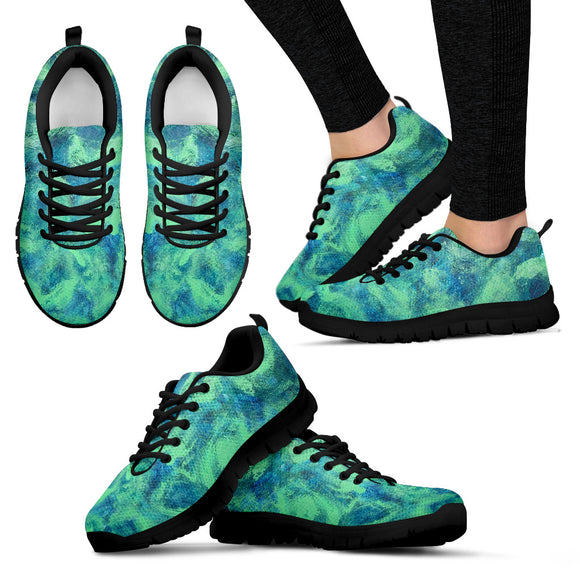 Green Paisley Design - Women's Sneakers Shoes