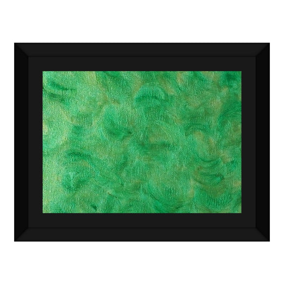 Green Gold Swirl Design - Framed Canvas