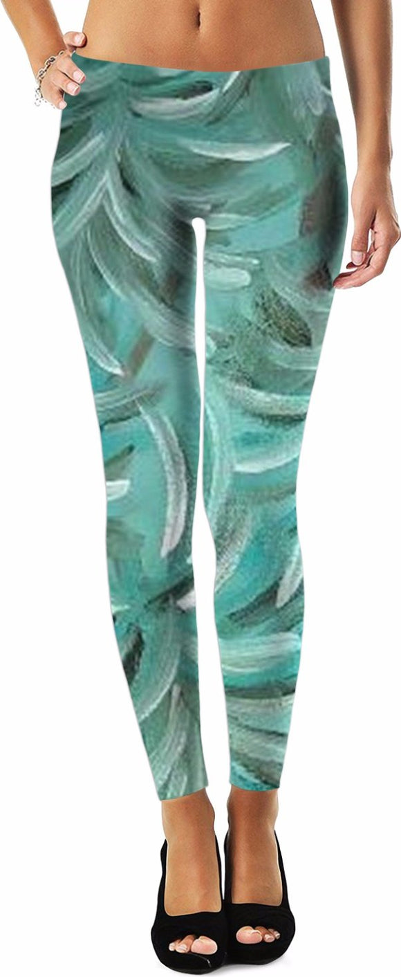 Green Burst Swirl Design - Leggings