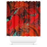 Red Renaissance Swirl Design - Shower Curtains