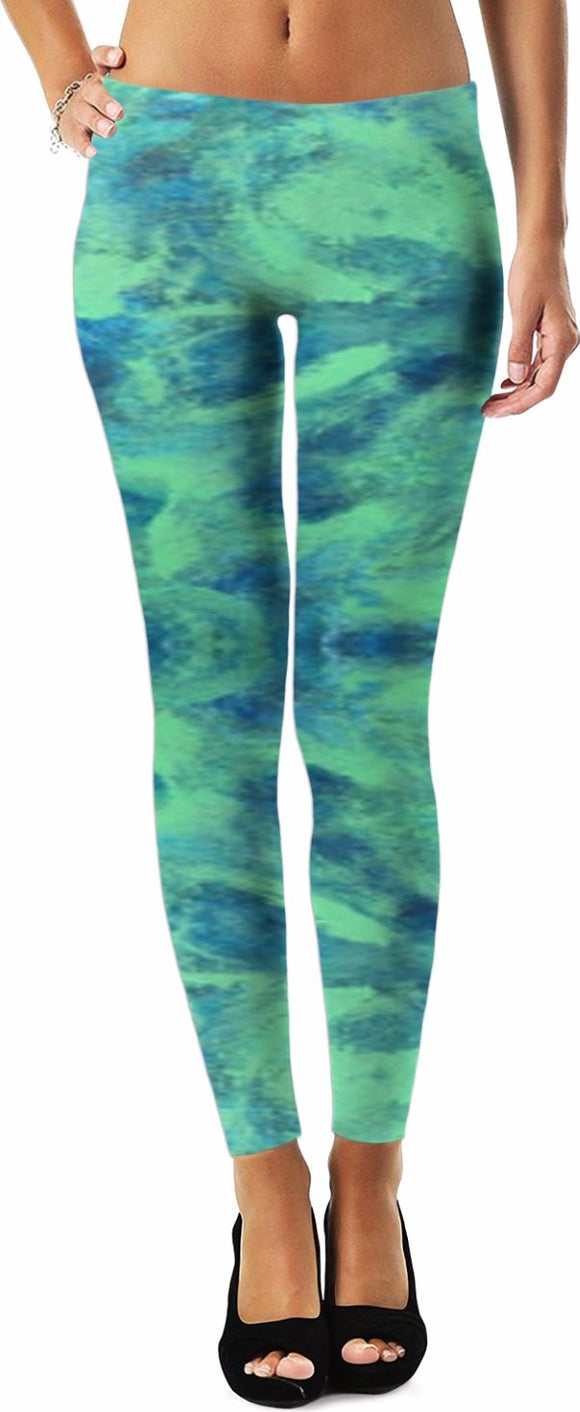 Green Paisley Design - Leggings