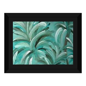 Green Burst Swirl Design - Framed Canvas