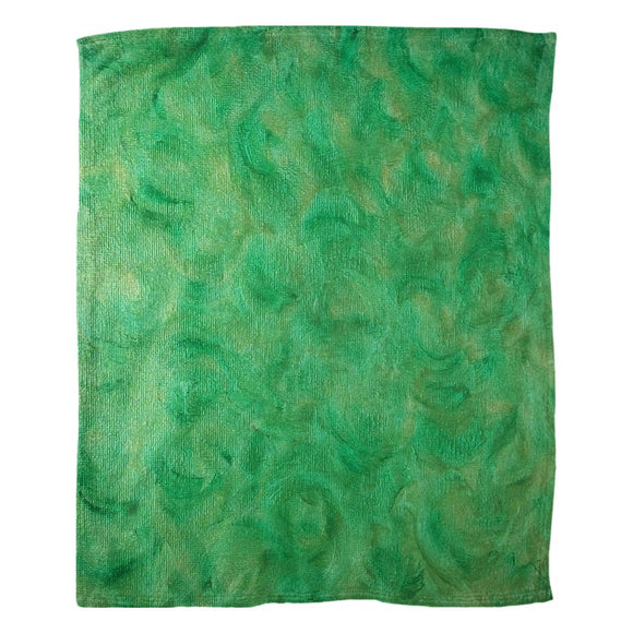 Green Gold Swirl Design - Fleece Blankets